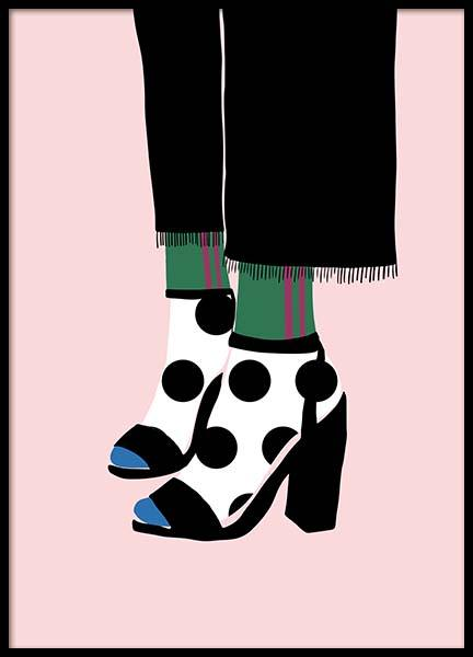 Polka Dot Socks in Heels Poster in the group Posters & Prints / Illustrations at Desenio AB (11595)