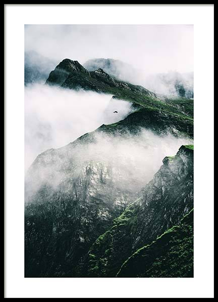 Rugged Misty Mountains Poster