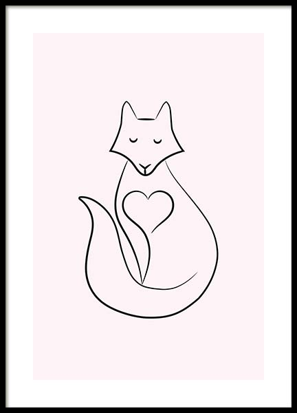 Fox Heart Poster in the group Posters & Prints / Sizes / 30x40cm | 12x16 at Desenio AB (11748)