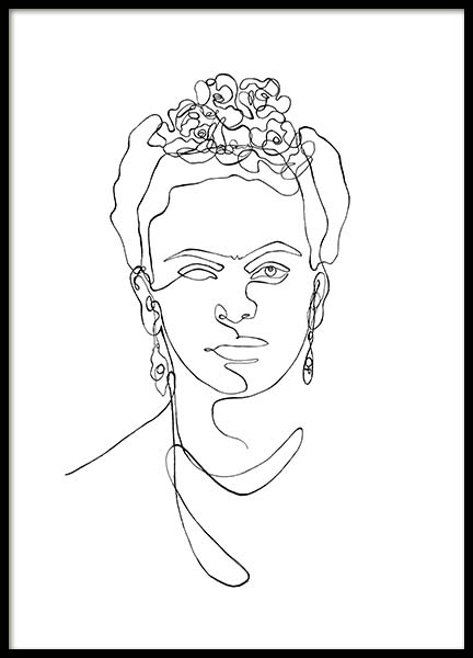 Frida Kahlo Line Art Poster in the group Posters & Prints / Black & white at Desenio AB (11764)