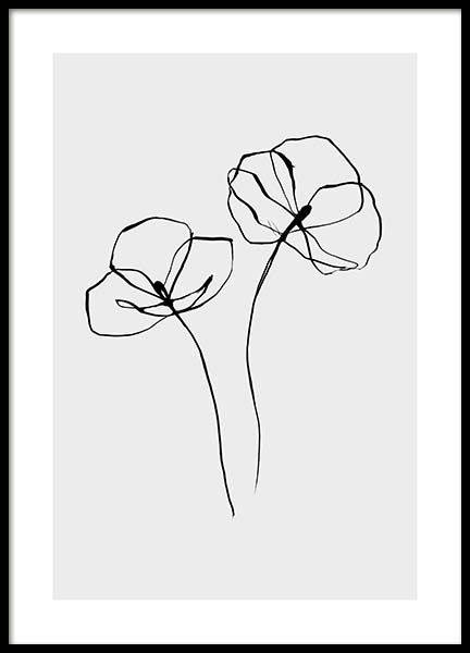 Line Flower No2 Poster in the group Posters & Prints / Black & white at Desenio AB (11766)