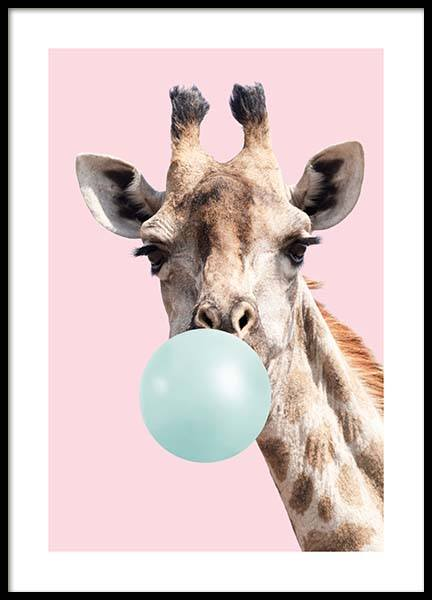 Bubblegum Giraffe Poster in the group Posters & Prints / Kids posters at Desenio AB (11769)