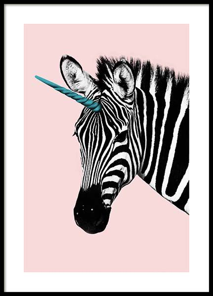 Unicorn Zebra Poster in the group Posters & Prints / Kids posters at Desenio AB (11772)