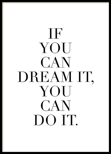 Dream it Poster in the group Posters & Prints / Text posters at Desenio AB (11845)