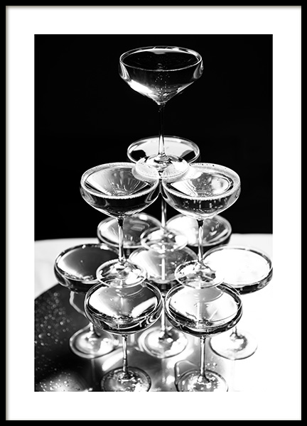 Champagne Tower Poster in the group Posters & Prints / Black & white at Desenio AB (11914)