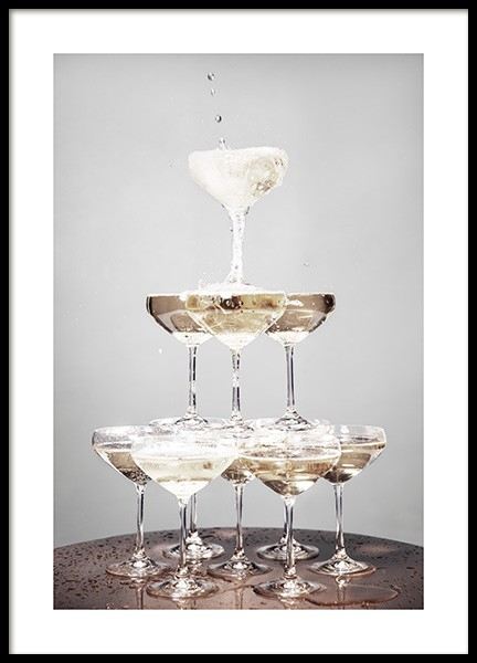 Champagne Pyramid Poster in the group Posters & Prints / Kitchen at Desenio AB (11917)