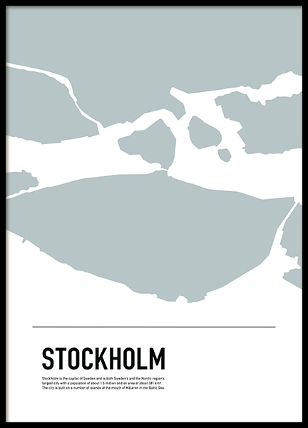 Graphic Map Stockholm Poster in the group Posters & Prints / Maps & cities /  /  at Desenio AB (11931)