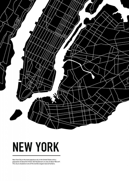 Graphic City Map New York Poster in the group Posters & Prints / Maps & cities at Desenio AB (11937)