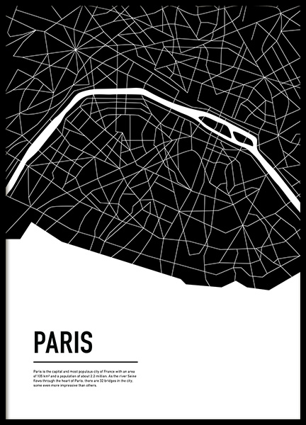 Graphic City Map Paris Poster in the group Posters & Prints / Maps & cities at Desenio AB (11938)