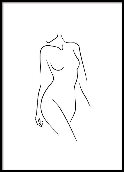Sideway Glance Line Art Poster in the group Posters & Prints / Black & white at Desenio AB (11947)