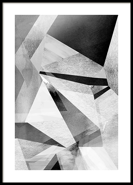 Gray Prisms Poster in the group Posters & Prints / Black & white at Desenio AB (11991)