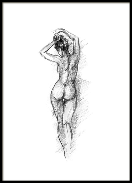 Posing Sketch Poster in the group Posters & Prints / Black & white at Desenio AB (12132)