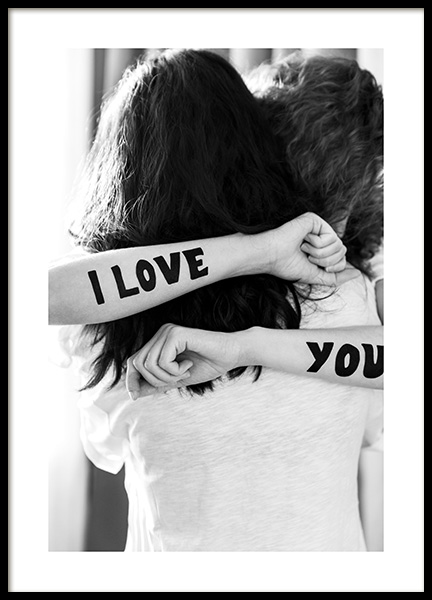 The Hug – I Love You Ink Poster in the group Posters & Prints / Black & white at Desenio AB (12152)