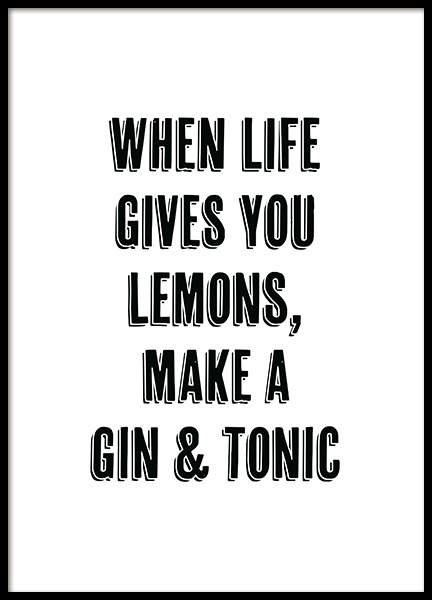 Gin and Tonic Poster in the group Posters & Prints / Kitchen at Desenio AB (12249)