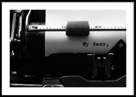 My Dear Typewriter Poster in the group Posters & Prints / Black & white at Desenio AB (12291)