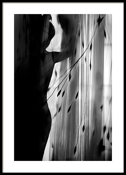Curtain Silhouette Poster in the group Posters & Prints / Black & white at Desenio AB (12292)
