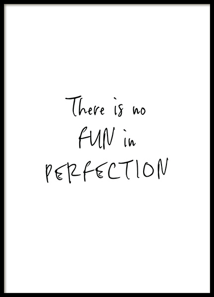 No Fun in Perfection Poster in the group Posters & Prints / Typography & quotes at Desenio AB (12349)