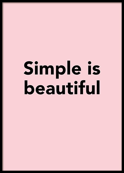 Simple is Beautiful Poster in the group Posters & Prints / Typography & quotes at Desenio AB (12350)