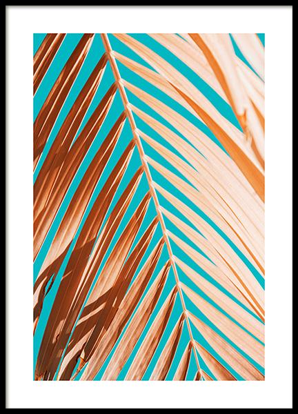 Palm Leaf Against Blue Sky Poster