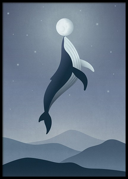 Whale Moon Poster in the group Posters & Prints / Kids posters at Desenio AB (12471)
