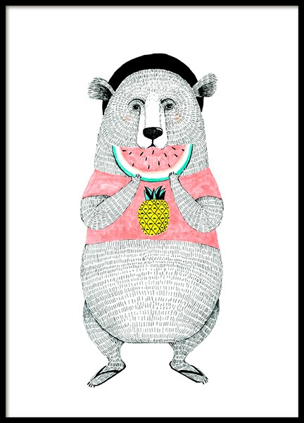 Bear with Melon Poster in the group Posters & Prints / Sizes / 30x40cm | 12x16 at Desenio AB (12473)