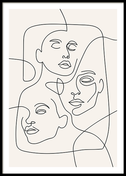 The Three Faces Line Art Poster in the group Posters & Prints / Illustrations at Desenio AB (12506)