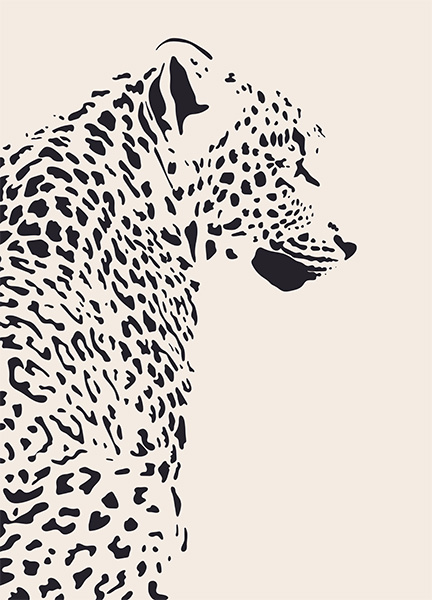 Leopard Illustration Poster in the group Posters & Prints / Insects & animals at Desenio AB (12572)