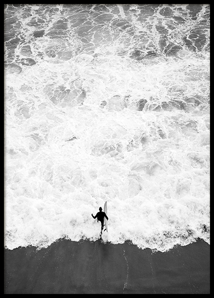 Running Into Ocean Poster in the group Posters & Prints / Black & white at Desenio AB (12598)