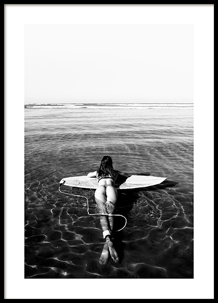 Floating on Surfboard Poster in the group Posters & Prints / Black & white at Desenio AB (12651)