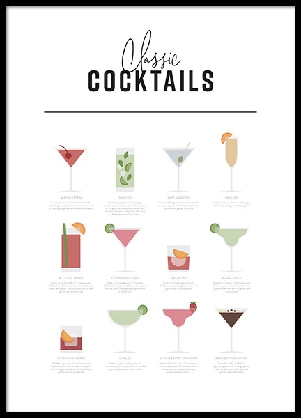 Classic Cocktail Guide Poster in the group Posters & Prints / Text posters at Desenio AB (12668)