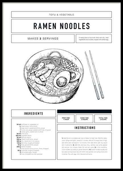 Ramen Recipe Poster in the group Posters & Prints / Text posters at Desenio AB (12670)