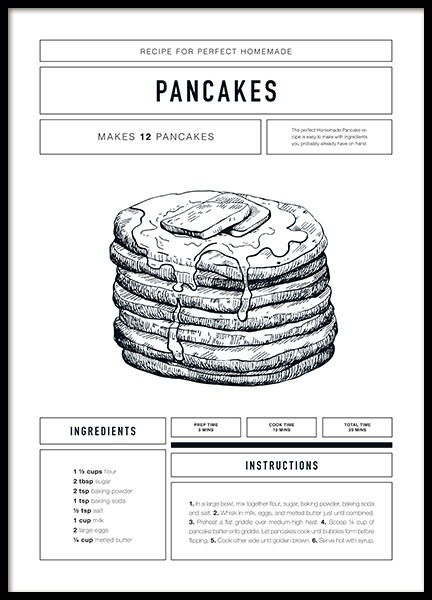 Pancake Recipe Poster in the group Posters & Prints / Typography & quotes at Desenio AB (12671)