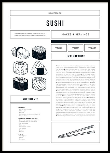 Sushi Recipe Poster in the group Posters & Prints / Text posters at Desenio AB (12672)