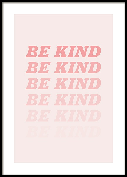 Be Kind Pink Poster in the group Posters & Prints / Text posters at Desenio AB (12679)