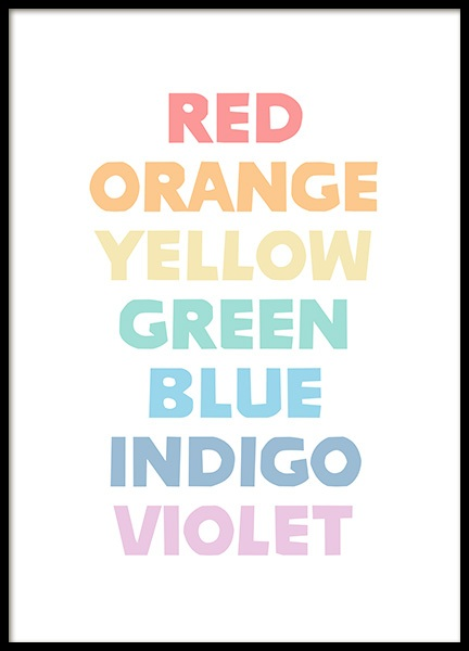 The Colors of the Rainbow Poster in the group Posters & Prints / Kids posters at Desenio AB (12684)