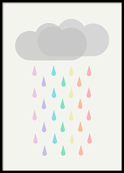 Raining Rainbows Poster in the group Posters & Prints / Kids posters at Desenio AB (12686)