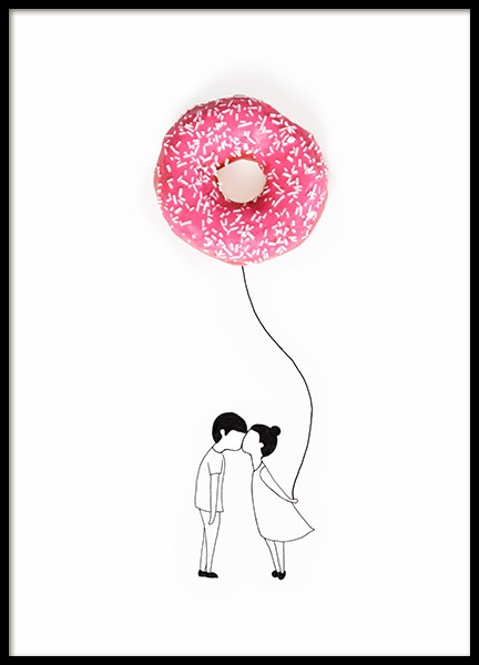 Donut Balloon Poster in the group Posters & Prints / Kids posters at Desenio AB (12718)