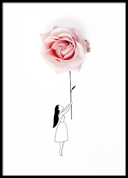 Rose Balloon Poster in the group Posters & Prints / Sizes / 50x70cm | 20x28 at Desenio AB (12719)