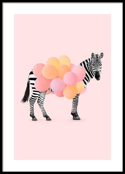 Zebra Balloon Poster in the group Posters & Prints / Kids posters at Desenio AB (12743)