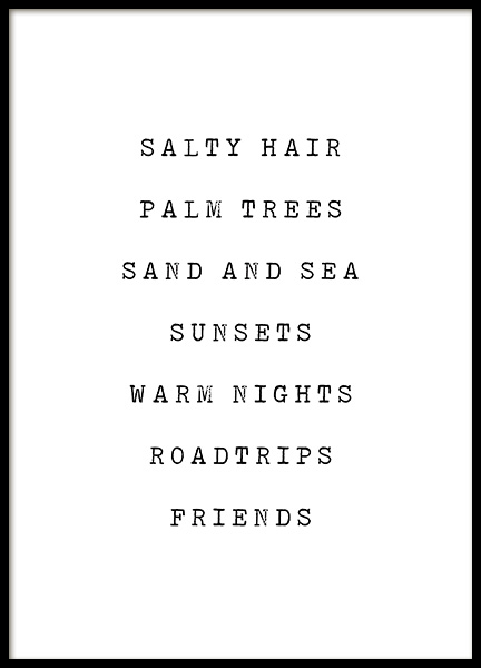 Salty Hair Poster in the group Posters & Prints / Typography & quotes at Desenio AB (12840)