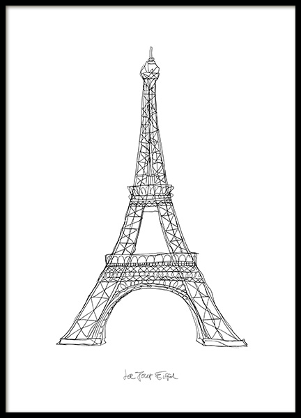 La Tour Eiffel Poster in the group Posters & Prints / Black & white at Desenio AB (12920)