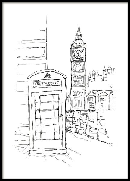 Calling For London Poster in the group Posters & Prints / Black & white at Desenio AB (12924)