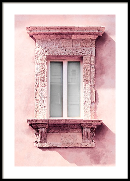 Window Pink Facade Poster in the group Posters & Prints / Photography at Desenio AB (13003)