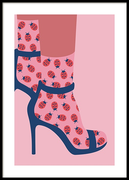 Ladybird Socks in Heels Poster in the group Posters & Prints / Graphical at Desenio AB (13100)