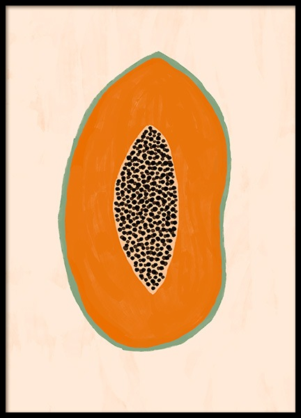 Papaya Illustration Poster in the group Posters & Prints / Kitchen at Desenio AB (13106)