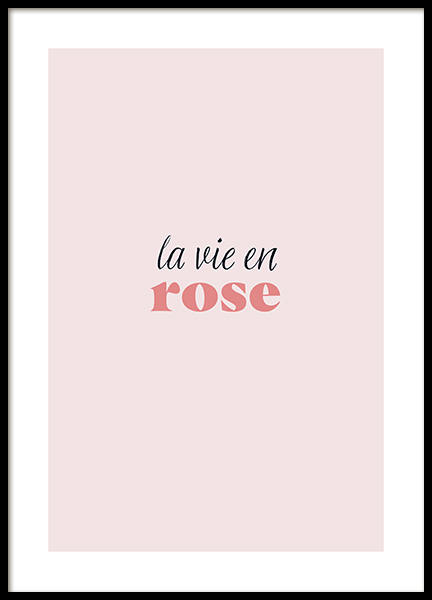 La Vie en Rose Poster in the group Posters & Prints / Typography & quotes at Desenio AB (13186)