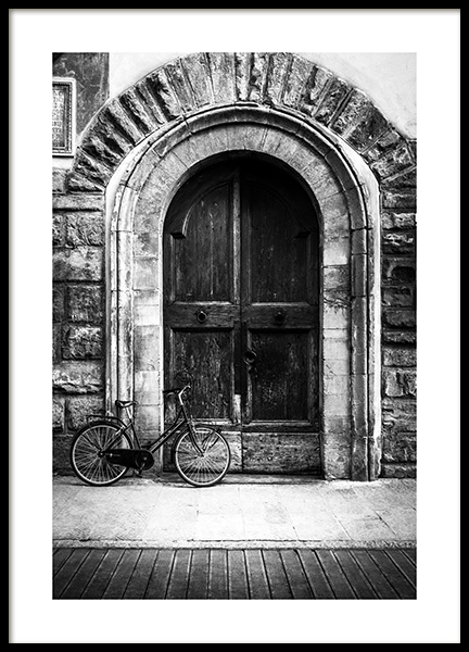 Bike and Arched Door Poster in the group Posters & Prints / Black & white at Desenio AB (13263)