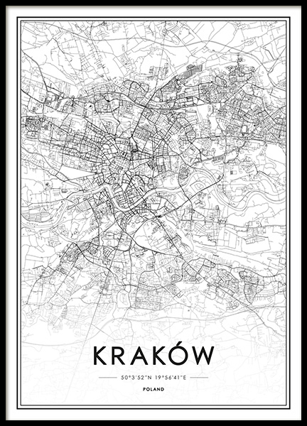 Krakow Map Poster in the group Posters & Prints / Black & white at Desenio AB (13340)