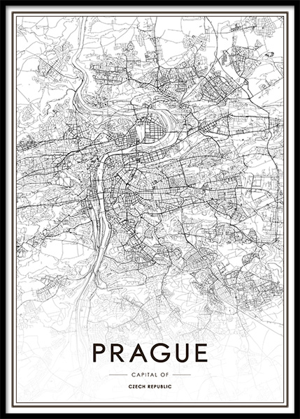 Prague Map Poster in the group Posters & Prints / Black & white at Desenio AB (13341)