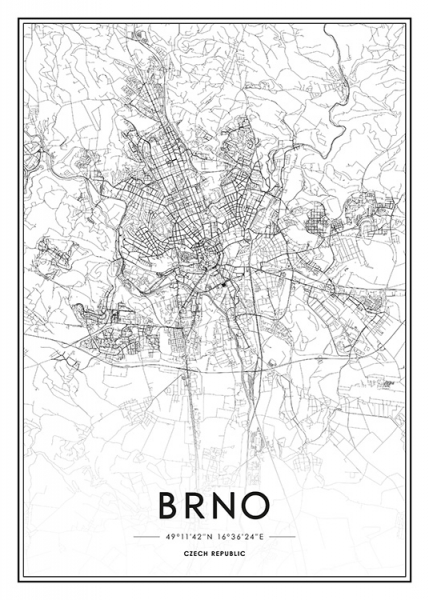 Brno Map Poster in the group Posters & Prints / Black & white at Desenio AB (13342)